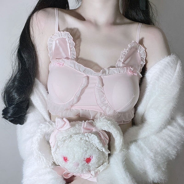 [leggycozy] Japanese Kawaii Lovely Ruffles Bowknot See Through Ultra Thin Bra Set
