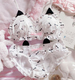 [leggycozy] Japanese Kawaii Cute Cat Paw Pattern Ruffles Wire Free Seamless Ultra Thin Bra Set