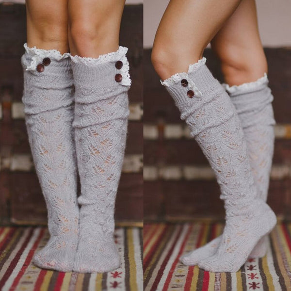 [leggycozy] Korean Kawaii Cute Knitted Knee High Warm Soft Socks with Buttons