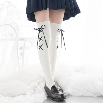 [leggycozy] Japanese Kawaii Anime Lace-Up Cross Ribbon Over Knee Stockings