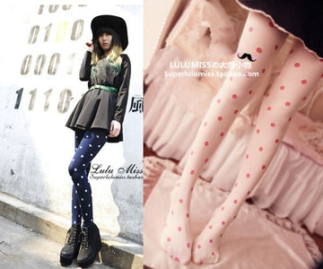 [leggycozy] Korean Kawaii Retro Polka Dot Velvet Pantyhose Stockings