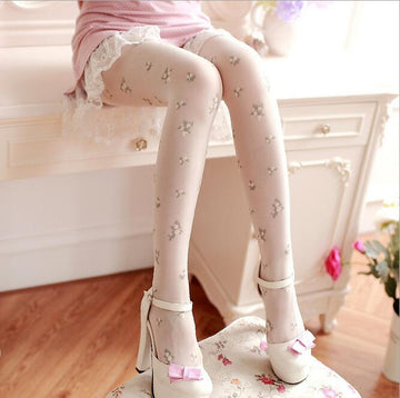 [leggycozy] Retro Sweet Floral Pattern Pantyhose Thin Stockings