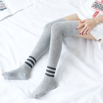 [leggycozy] Japanese Preppy Three-Striped Over Knee Anti-Slide Cotton Stockings
