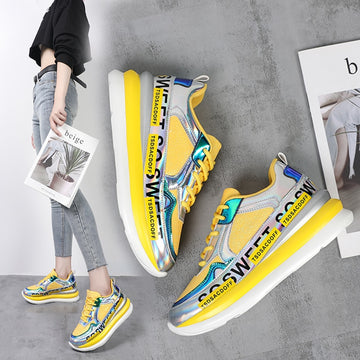 [leggycozy] Women Glitter Sequined Breathable Platform Chunky Sneakers