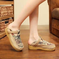 [leggycozy] Handmade Cute Bear Embroidered Comfortable Linen Mules Shoes