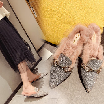 [leggycozy] Elegant Bling Rhinestone Pointed Toe British Buckle Warm Fluffy Mules Shoes