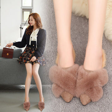 [leggycozy] Korean Cross Fur Band Warm Fluffy Pointy Toe Mules Shoes