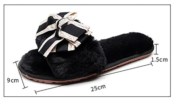 [leggycozy] Kawaii Korean Lovely Bowknot Faux Furry Open Toe Fluffy Indoor Slippers