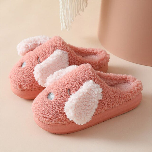 [leggycozy] Kawaii Korean Cute Cartoon Dog Fluffy Cotton Non-Slip Thick Soled Slippers
