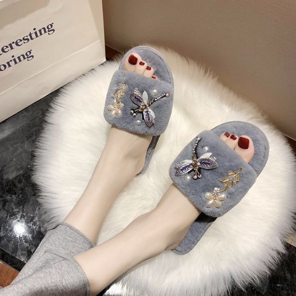 [leggycozy] Butterfly Flower Rhinestone Warm Fluffy Indoor Slippers