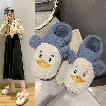 [leggycozy] Kawaii Cartoon Animal Warm Fluffy Comfortable House Slippers