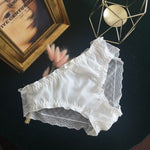 [leggycozy] Korean Kawaii Lovely Plaid Pattern Lace Trim Bowknot Chiffon Sheer Panties