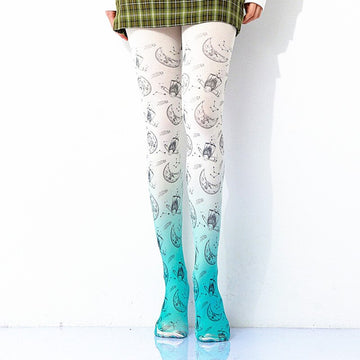 [leggycozy] Kawaii Cartoon Celestial Pattern Gradient Print Pantyhose Stockings