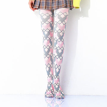[leggycozy] Kawaii Colorful Geometric Diamond Lattice Print Pantyhose Stockings