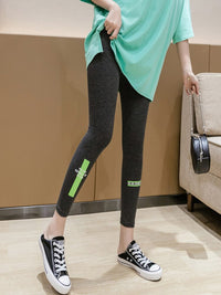 [leggycozy] Sporty Lovely Neon Letter Print  Moisture Wicking Leggings