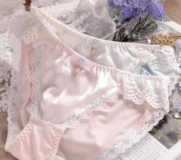 [leggycozy] Lovely Cute Kawaii Princess Lace Pearls Bow Knot Panties -Plus Size