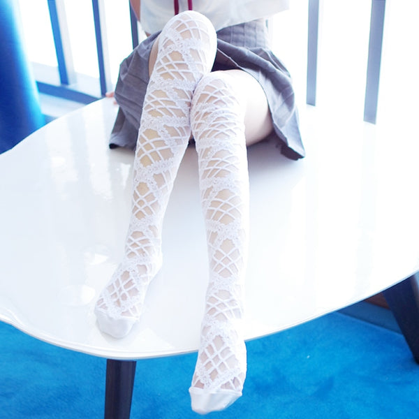 [leggycozy] Over Knee Lace Fishnet Stockings