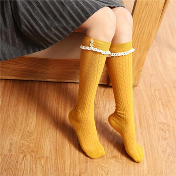 [leggycozy] (3pairs/lot) Kawaii Button Laced Knee Socks