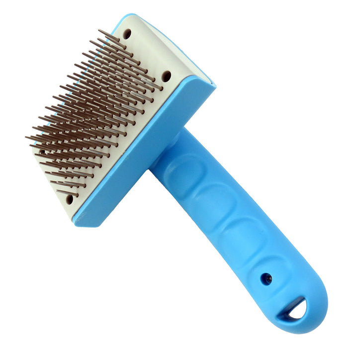 Pet Cleaning Slicker Comb Brush Dog Cat Hair Grooming Auto Scaling Comb Removes Mats Tangles for Long or Short Haired Pets