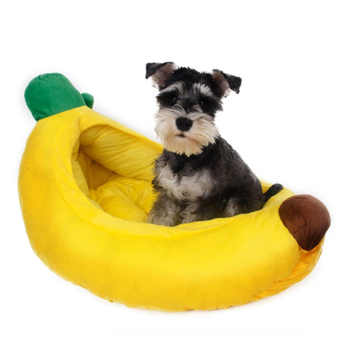 Pet Dog Puppy Cat Banana Style Soft Plush Bed House Nest - Size S (Yellow)