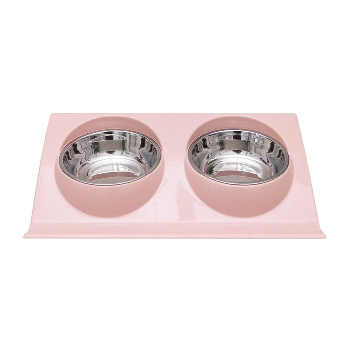 Double Stainless Steel Food and Water Dog Bowls with No Spill Non-Skid Premium Quality PP Mat Feeder Best Pet Bowl for Feeding Dogs Cats Puppies and Pets (Pink)