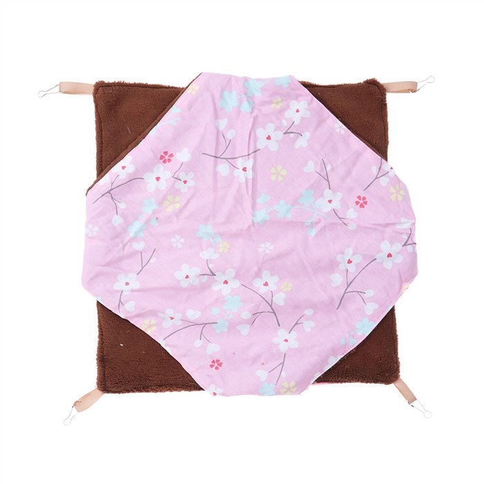 Small Pet Hammock Hanging Warm Bed Mat Double Layer for Hamster Squirrel Chinchilla Guinea Pig Size L (Pink)
