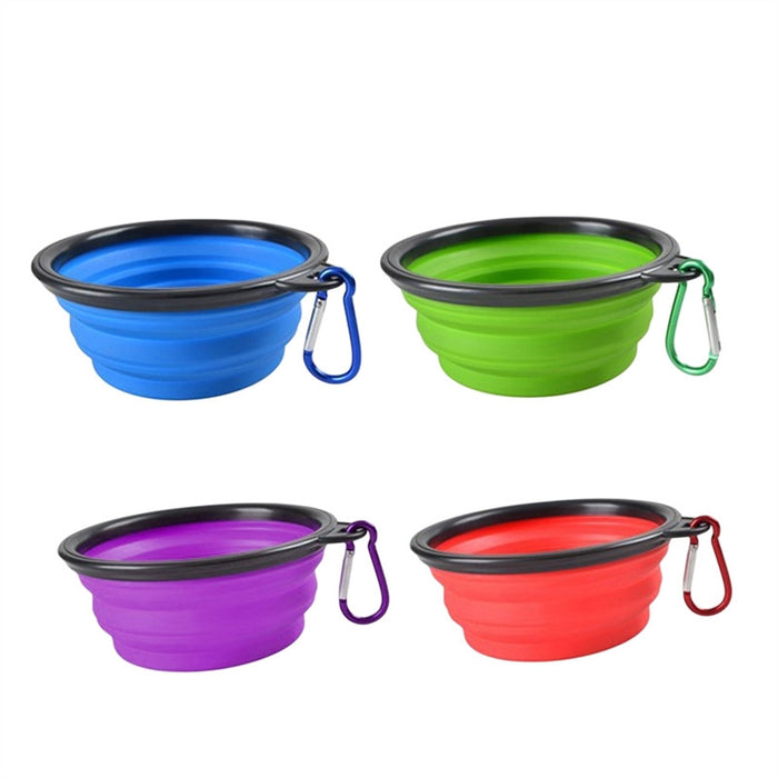 4PCS Collapsible Dog Bowl Food Grade TPE Foldable Expandable Cup Dish Portable Travel Bowl for Pet Dog Cat Food Water Feeding