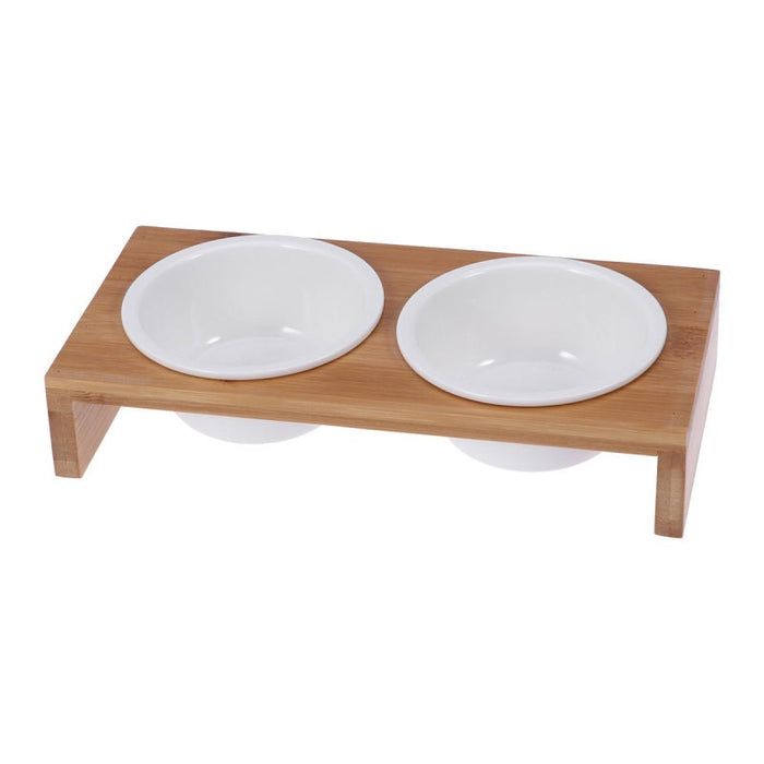 Pet Ceramic Feeding And Water Bowls With Bamboo Frame For Dogs And Cats
