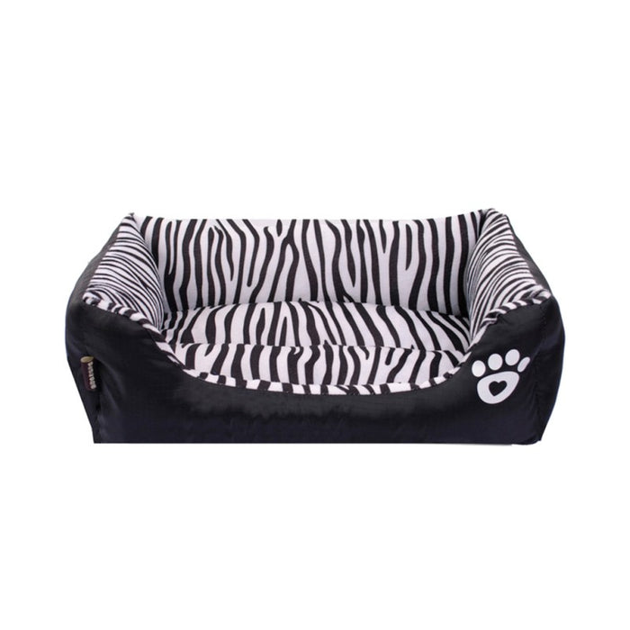 Zebra Pattern Pet Bed Autumn and Winter Warm Pet Dog Bed Soft Cushion Cosy Cat House Mat Size M