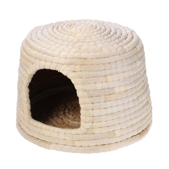 Natural Hand-made Grass Hut Bed House Woven Grass Hamster Rabbit Nest Pet Supplies