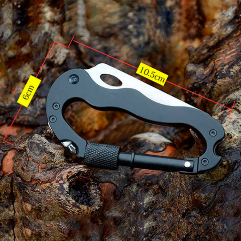 Outdoor Multi-function 5  in 1 Tool With Knife Screwdriver Aluminum Climbing Carabiner Hook and Buckle Rock Lock - Alpha Four