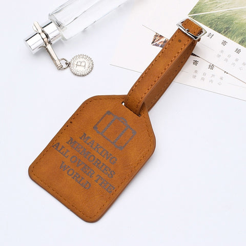 Image of Leather Suitcase Luggage Tag Label