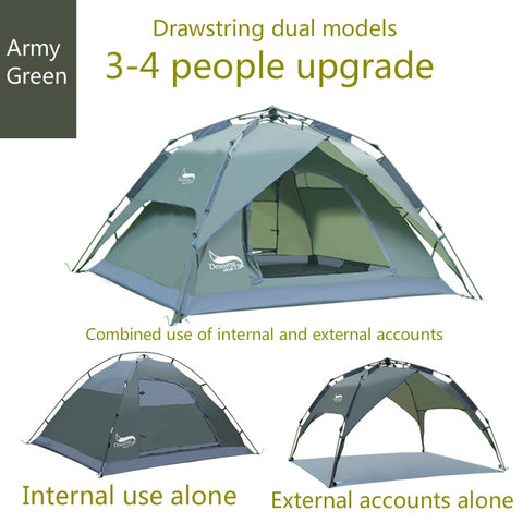 High Quality 2 in 1,  3 - 4 Person Automatic Pop Up Tent.