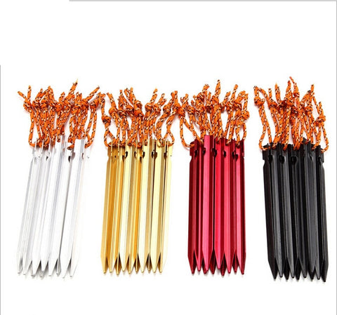 18cm Professional 10 Pcs Aluminum Tent Pegs with Rope