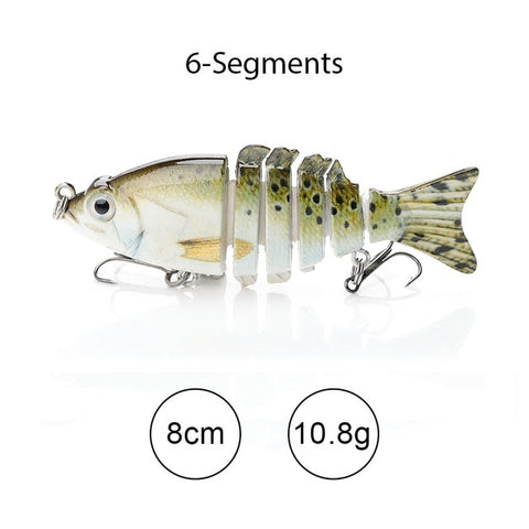 Sinking Wobblers Fishing Lures 10cm 17.5g 6 Multi Jointed Swimbait