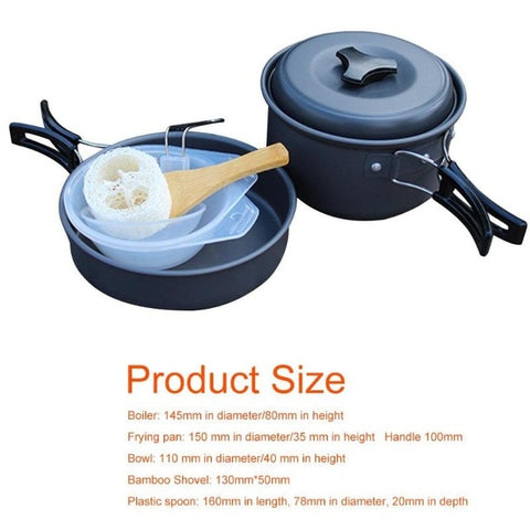 Image of Outdoor Camping Cookware Ultralight Tableware Portable Water Pot Pan Sets Camping Equipment
