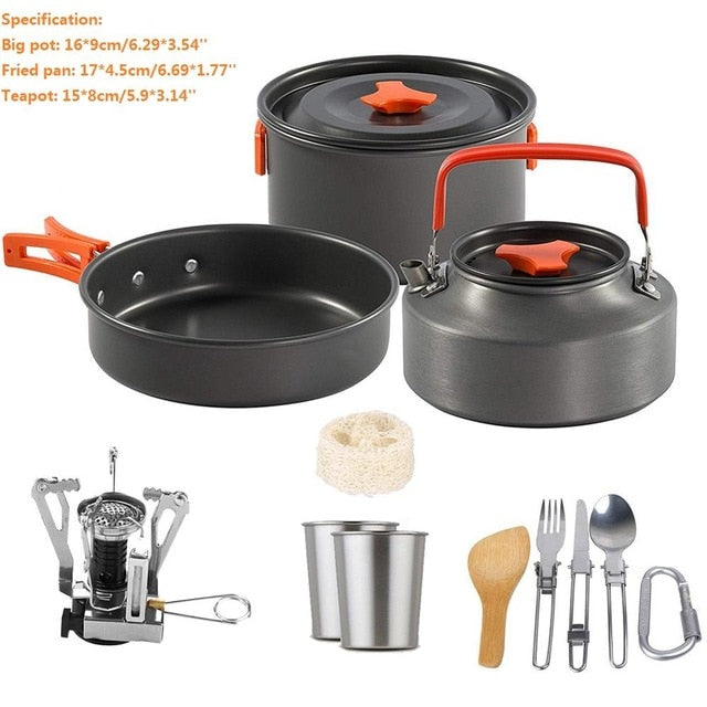 Outdoor Camping Cookware Ultralight Tableware Portable Water Pot Pan Sets Camping Equipment