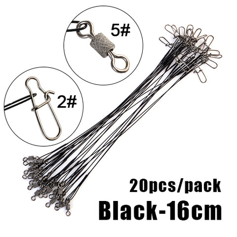 20pcs 16/20/25cm Stainless Steel Wire Leader Fishing Leash With Swivel 50LB Anti-bite Line Leadcore For Lure Accessories