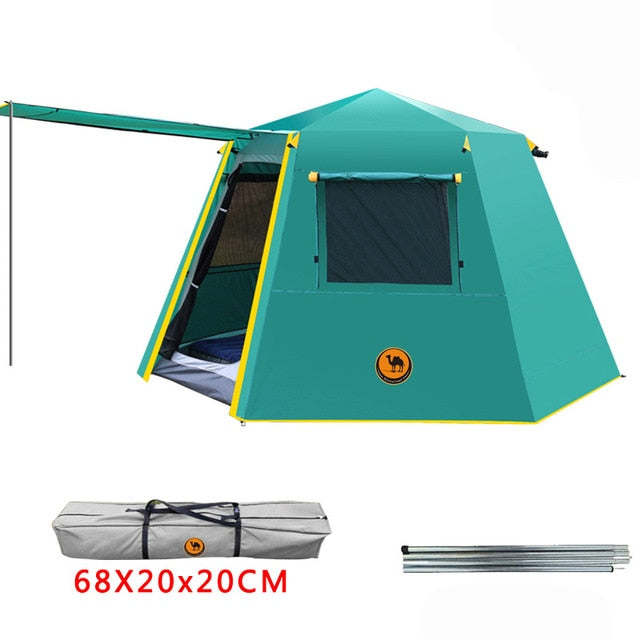 3-4persons UV Hexagonal Aluminum Pole Automatic Camping Tent