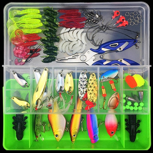 101pcs Lure Kit Set Including Spinner, Minnow, Popper, Soft and Hard Spoon, Crank Baits, Fishing Hooks