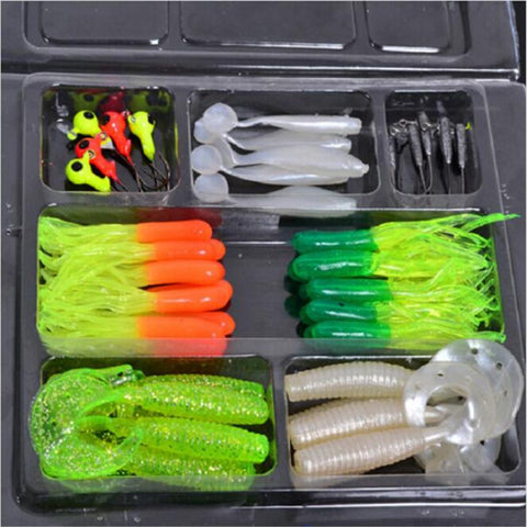 35pcs Soft Worm Fishing Baits and 10 Lead Jig Head Hooks Simulation Lures Box Set