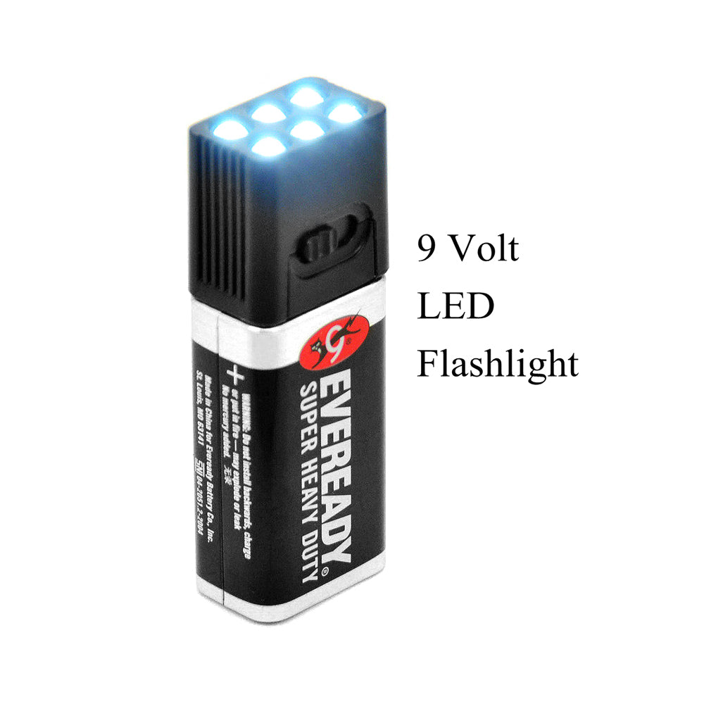 9 Volt LED Flashlight. Compact Size and Ultra Bright Ideal for Camping, Hiking, Trekking