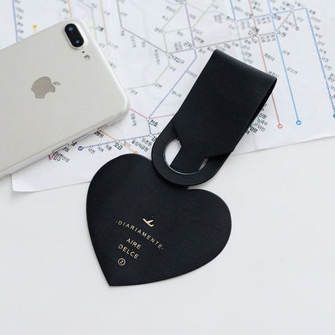 Image of Love Heart Shapes Leather ID Address Holder Baggage Tag