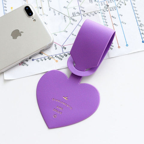 Love Heart Shapes Leather ID Address Holder Baggage Tag