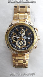 Casio Edifice Chronograph Watch Black Dial Full Gold