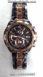 Casio Edifice Stop Watch Chronograph Full Black with Rose Gold Highlights Watch