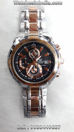 Casio Edifice Stop Watch Chronograph Black dial rose gold highlights watch
