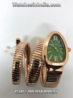Bvlgari Serpenti Green Dial Rose Gold Double Spiral Watch For Women