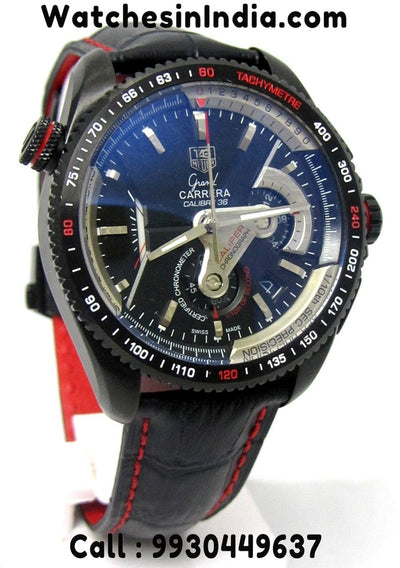 Tag Heuer Grand Carrera Calibre 36 Leather Strap Watch