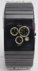 Rado Ceramica Gold diamonds chronograph ETA movement watch